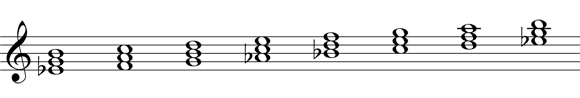 Diatonic chords step two: write the triads
