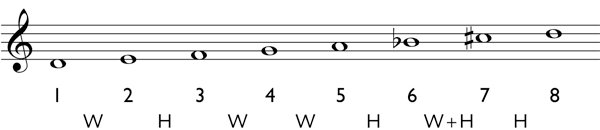 How to determine the notes of a harmonic scale Step 4: write in the appropriate accidentals